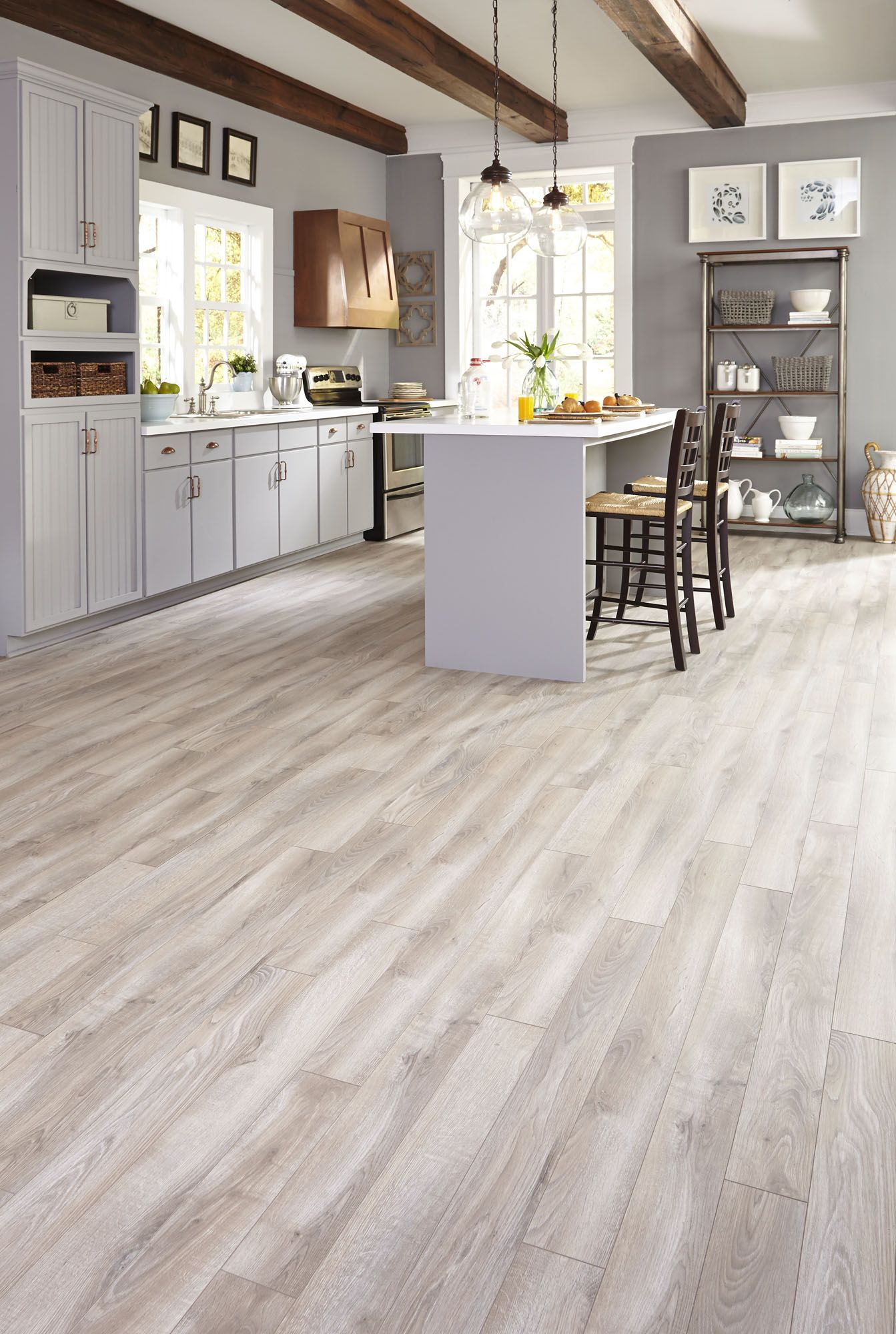 kitchen laminate flooring Top Style Gray is a top trend we love and this gorgeous laminate floor is a favorite among customers This neutral look complements your home without