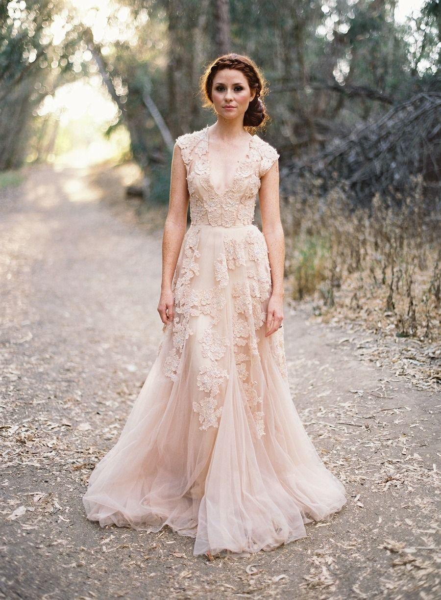 beige wedding dress Find more wedding dresses on The Vault