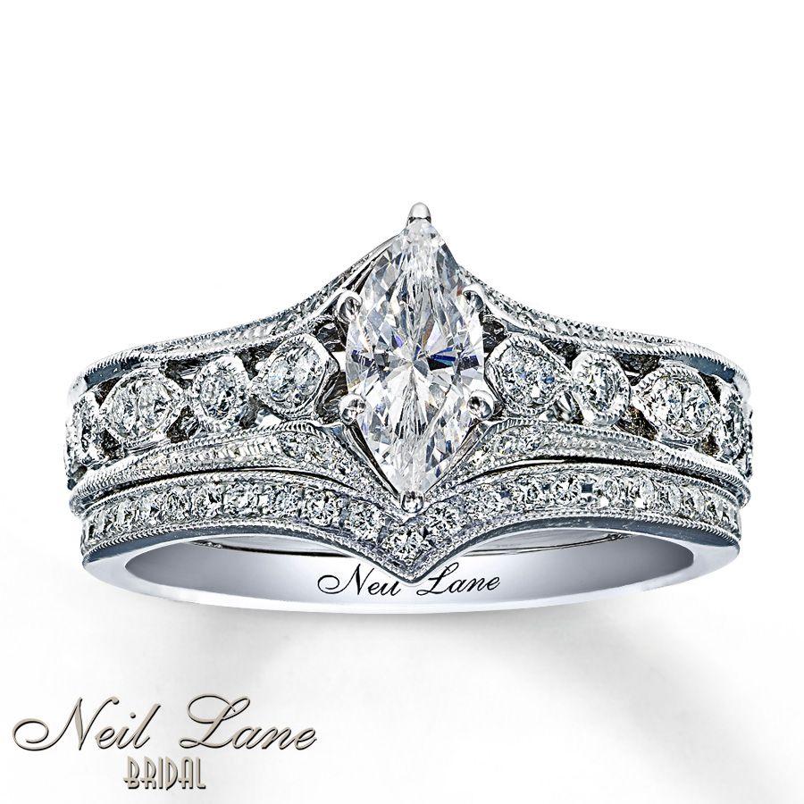 kay wedding rings sets Kay Diamond Bridal Set 7 8 ct tw Marquise Cut 14K White Gold