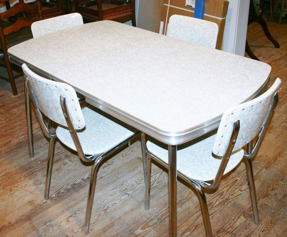 retro kitchen table sets vintage s Kitchen Dinette set table 4 chair silver gray formica chrome retro