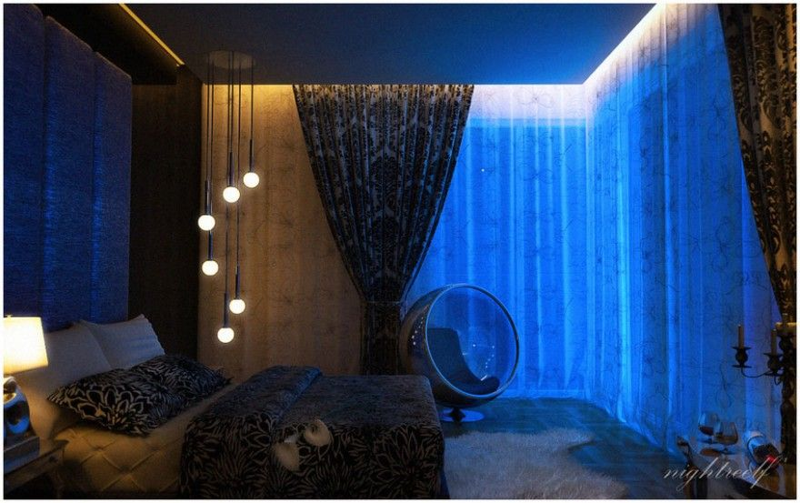 gorgeous romantic bedroom design blue lighting 880x553 foto wallpaper 01 for n