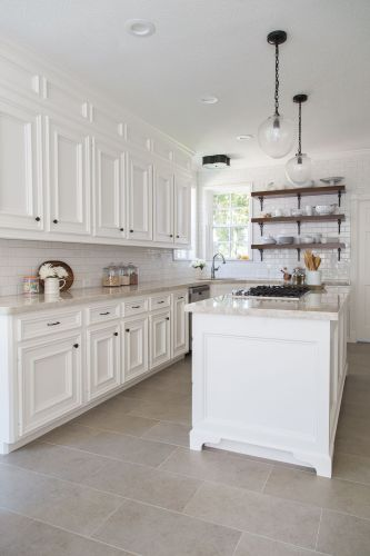 kitchen flooring ideas BEFORE AFTER A Dark Dismal Kitchen Is Made Light And Bright Open shelving Cabinets and Tables