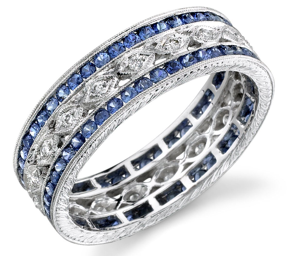 wedding band rings wide diamond sapphire band Love this for a push present because it can be