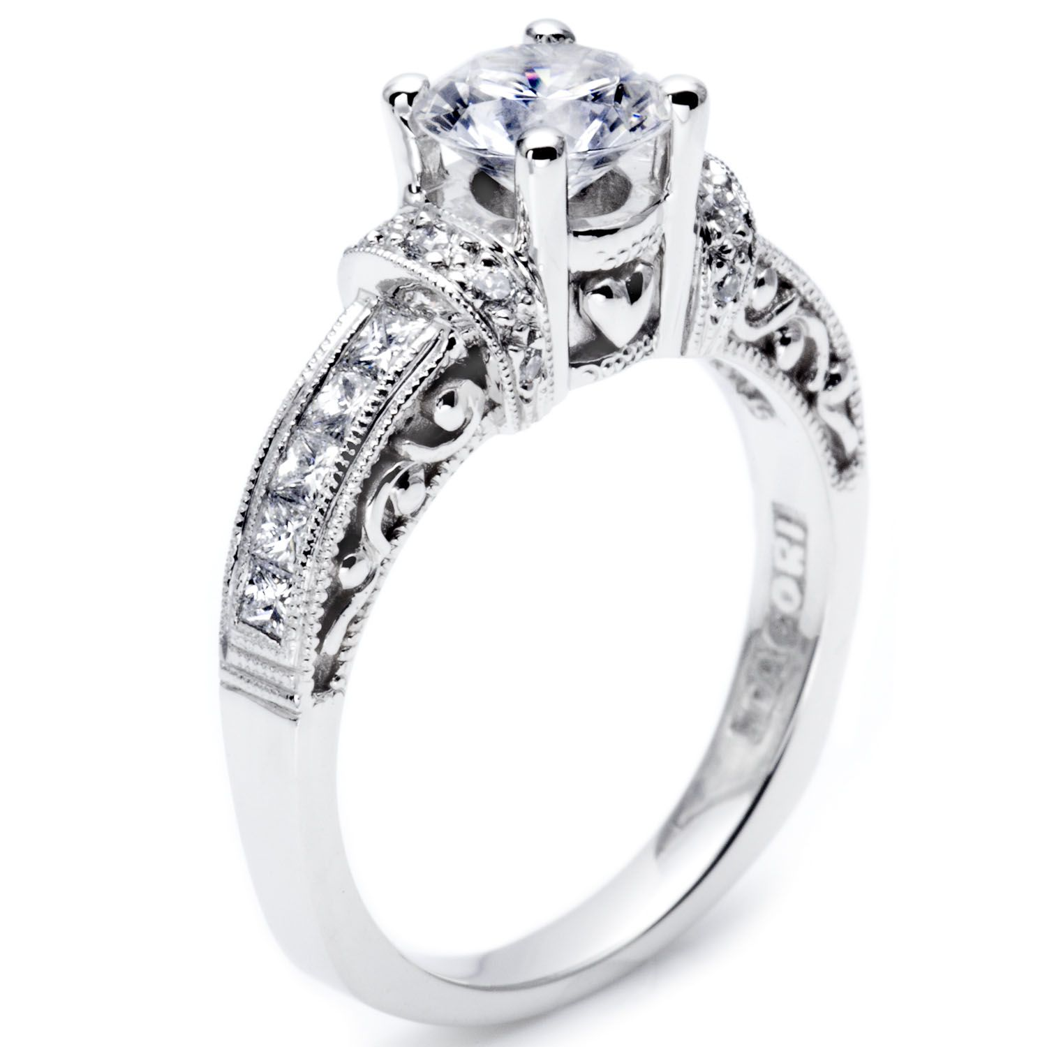 tacori wedding band How could she say no to this Tacori 2 thick strips of diamonds encase the center diamond in this beautiful mounting Looking for Heart Engagement Ring