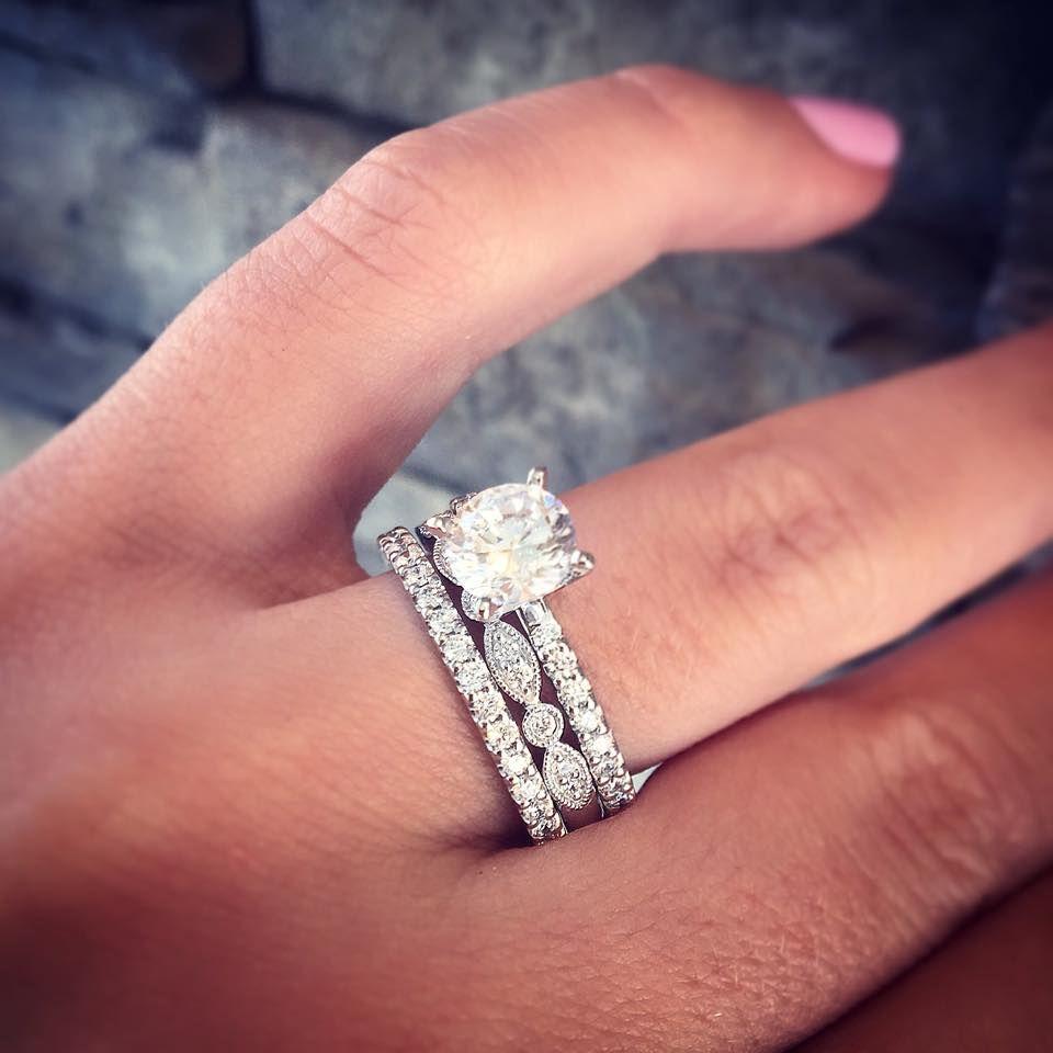 birthstone wedding rings 14K White Gold Blue Sapphire Diamond Cluster Ring