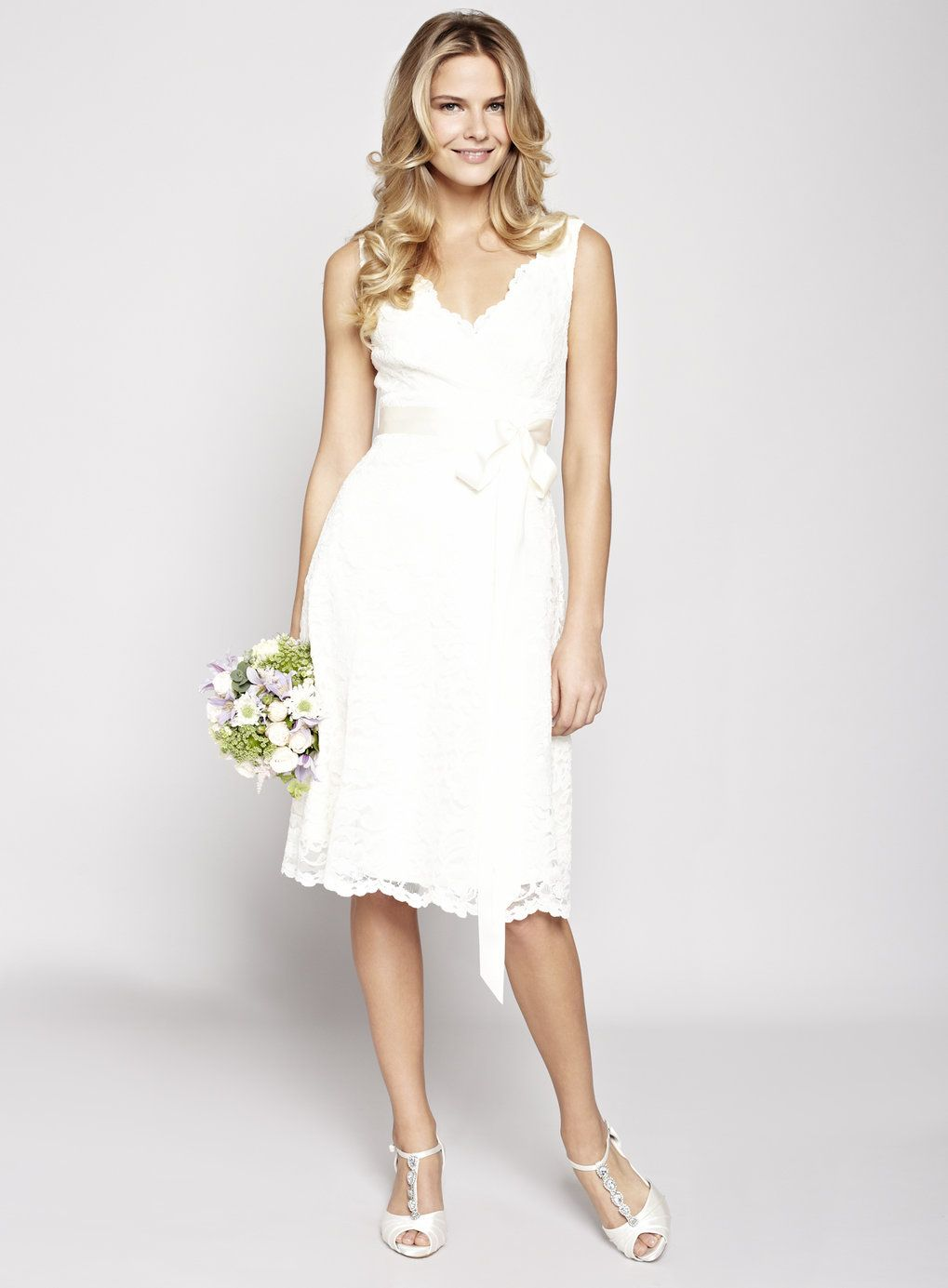 ivory wedding dress NEW Modern A line Princess Straps Knee Length Wedding Dress with Sash Applique