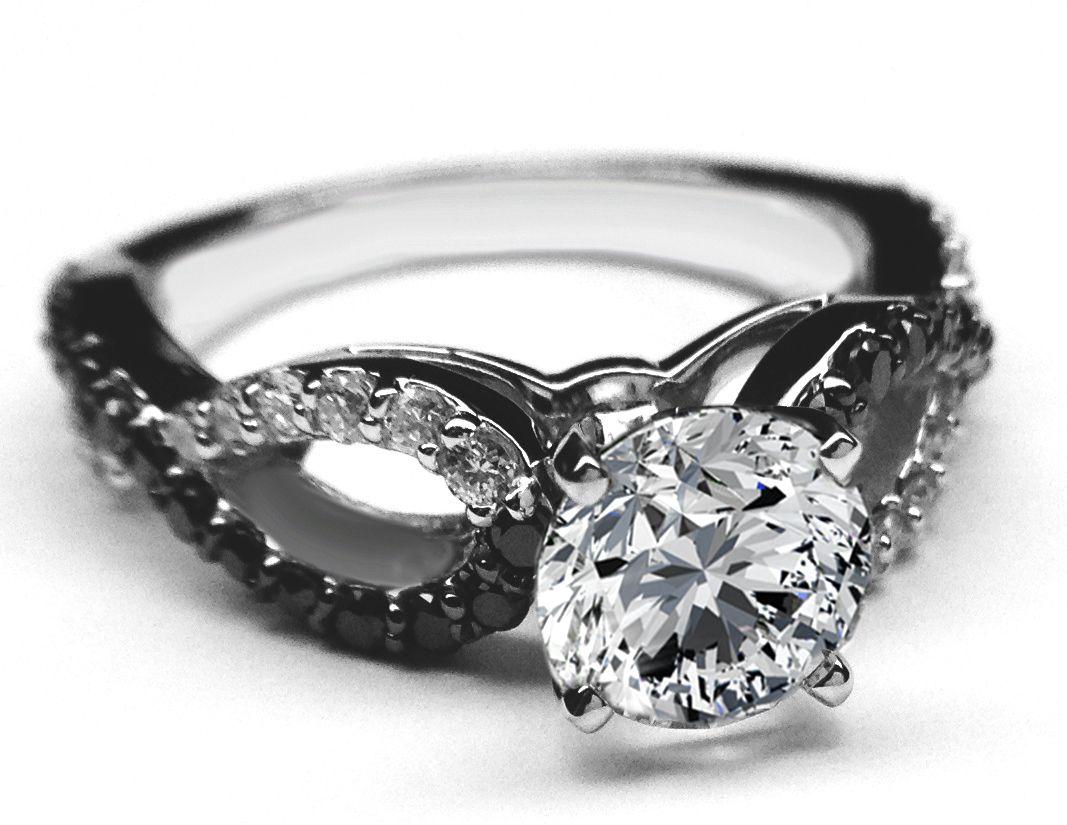 black gold wedding band Black White Diamond Engagement Ring infinity Diamonds band in 14K White Gold ES