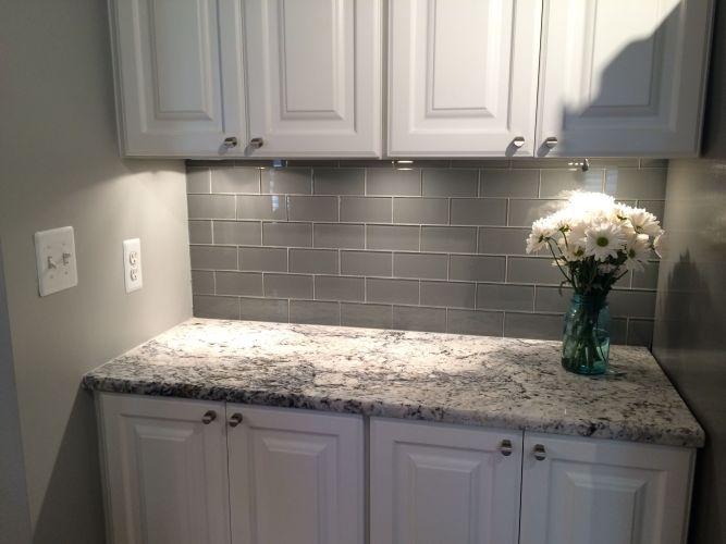 grey backsplash backsplash kitchen Grey Glass Subway Tile Backsplash And White Cabinet For Small Space