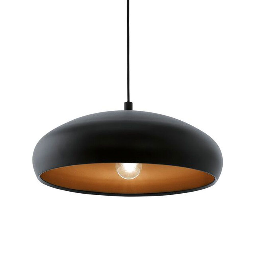 copper pendant light kitchen Eglo Eglo Black and Copper Mogano 1 Pendant Light