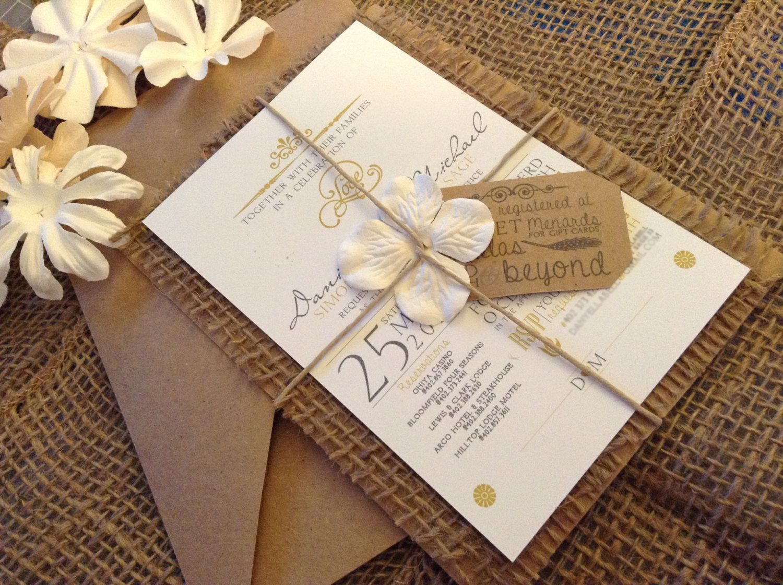 wedding invitations cheap wedding invitation Hand Made Country Chic Burlap Wedding Invitation Set 00 via Etsy I think
