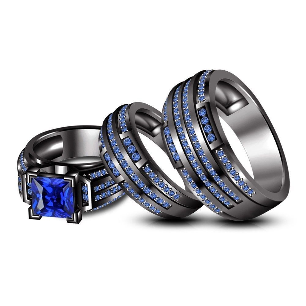 ebay wedding rings sets Blue Sapphire Trio Wedding His Her Band Ring Set Black Gold Over Sterling