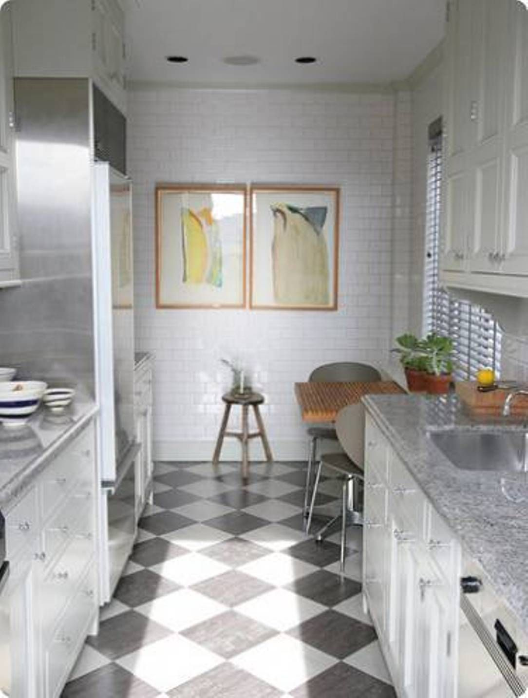 flooring ideas for kitchen Furniture Cool Small White Kitchen Table And Chairs In Sweet White Subway Kitchen Design Ideas With Wooden Small Breakfast Table Also Chess Pattern Ceramic