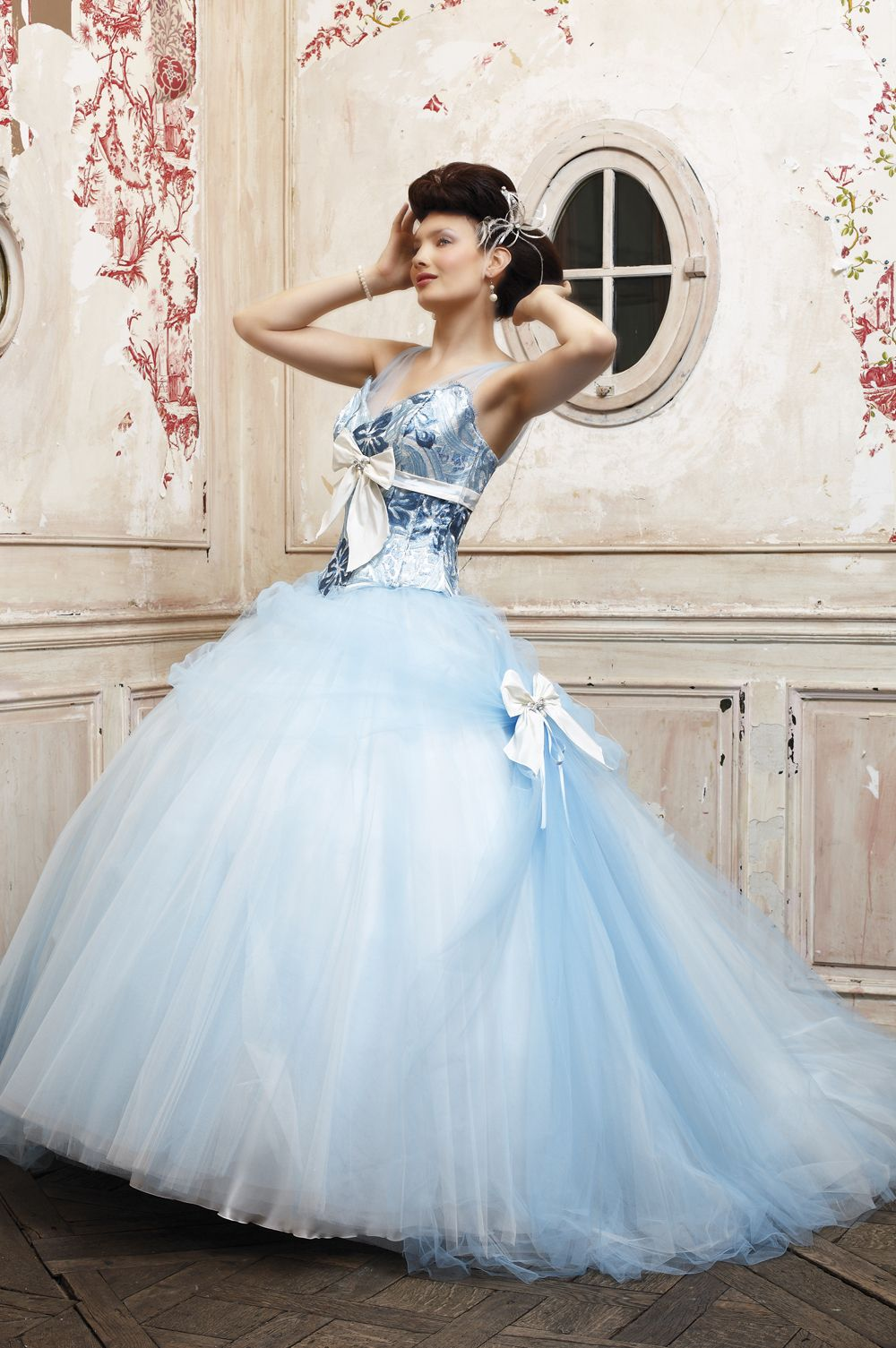 wedding dresses with blue Eli Shay Wedding Dress Collections House Heaven Blue Tulle skirt