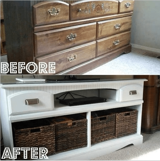 repurposed dresser remove drawers replace w basketsmakes a beautiful bedroom furniture e