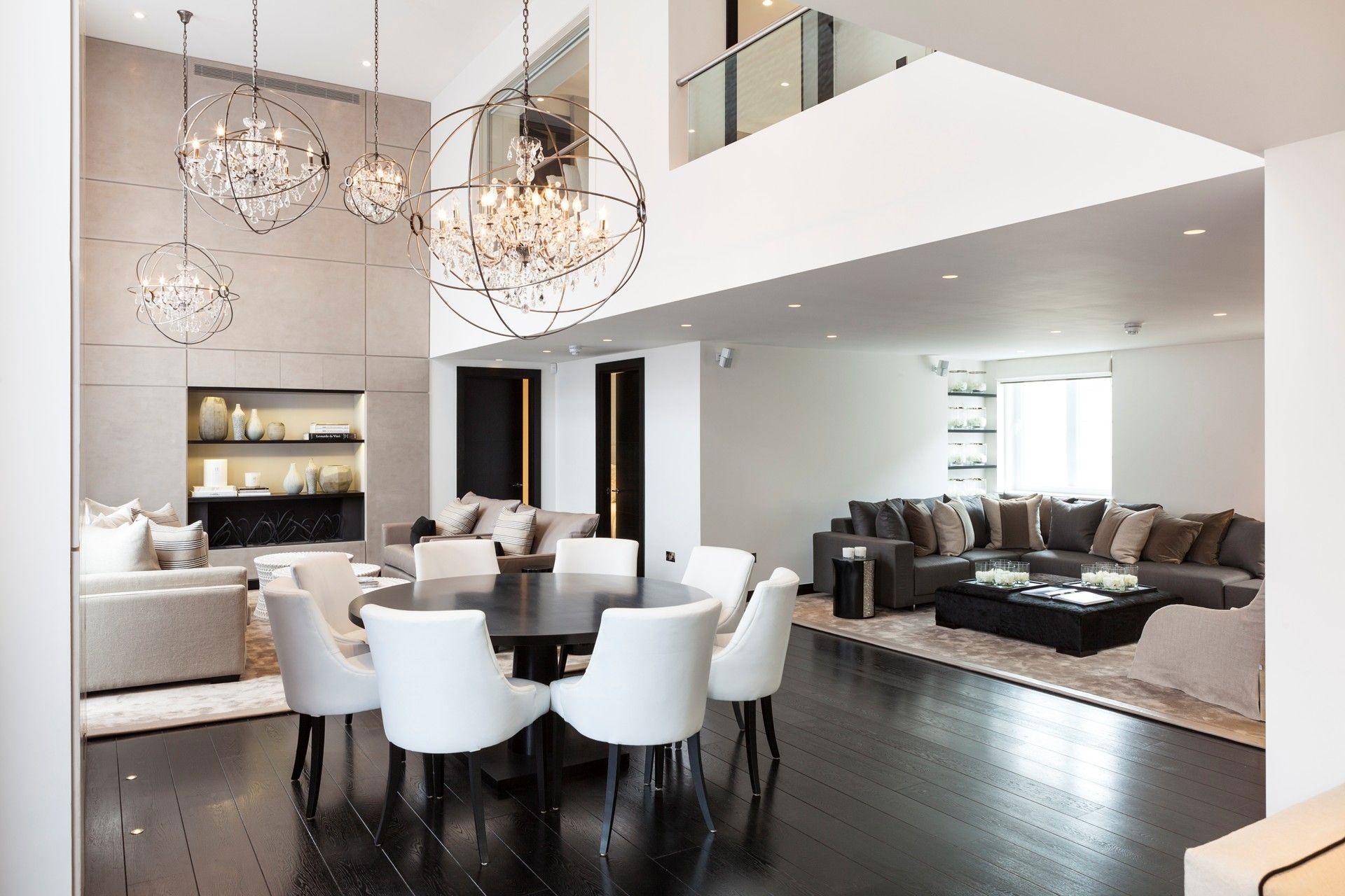 kitchen table chandelier Elegant Chandeliers Dining Table Living Space Open Plan Henrietta Street Apartment