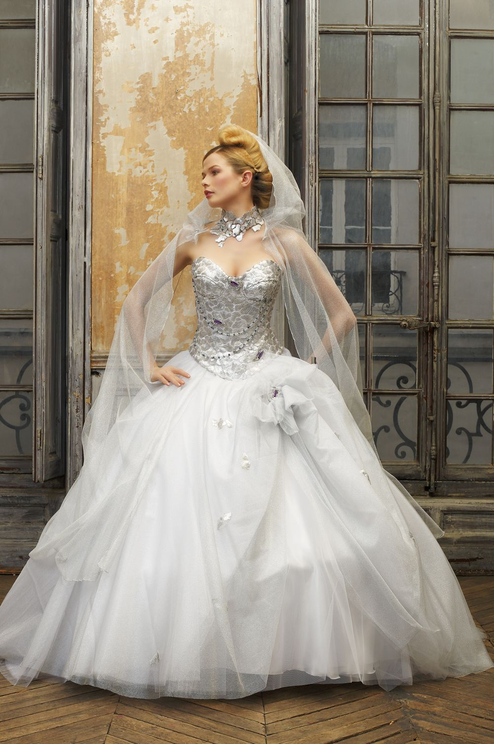 silver wedding dresses Ely Shay Wedding Dress Collections Catechu Silver Dress sequined corset lace perhaps inspired by Pnina s Marie Antoinette silver dress Pinterest