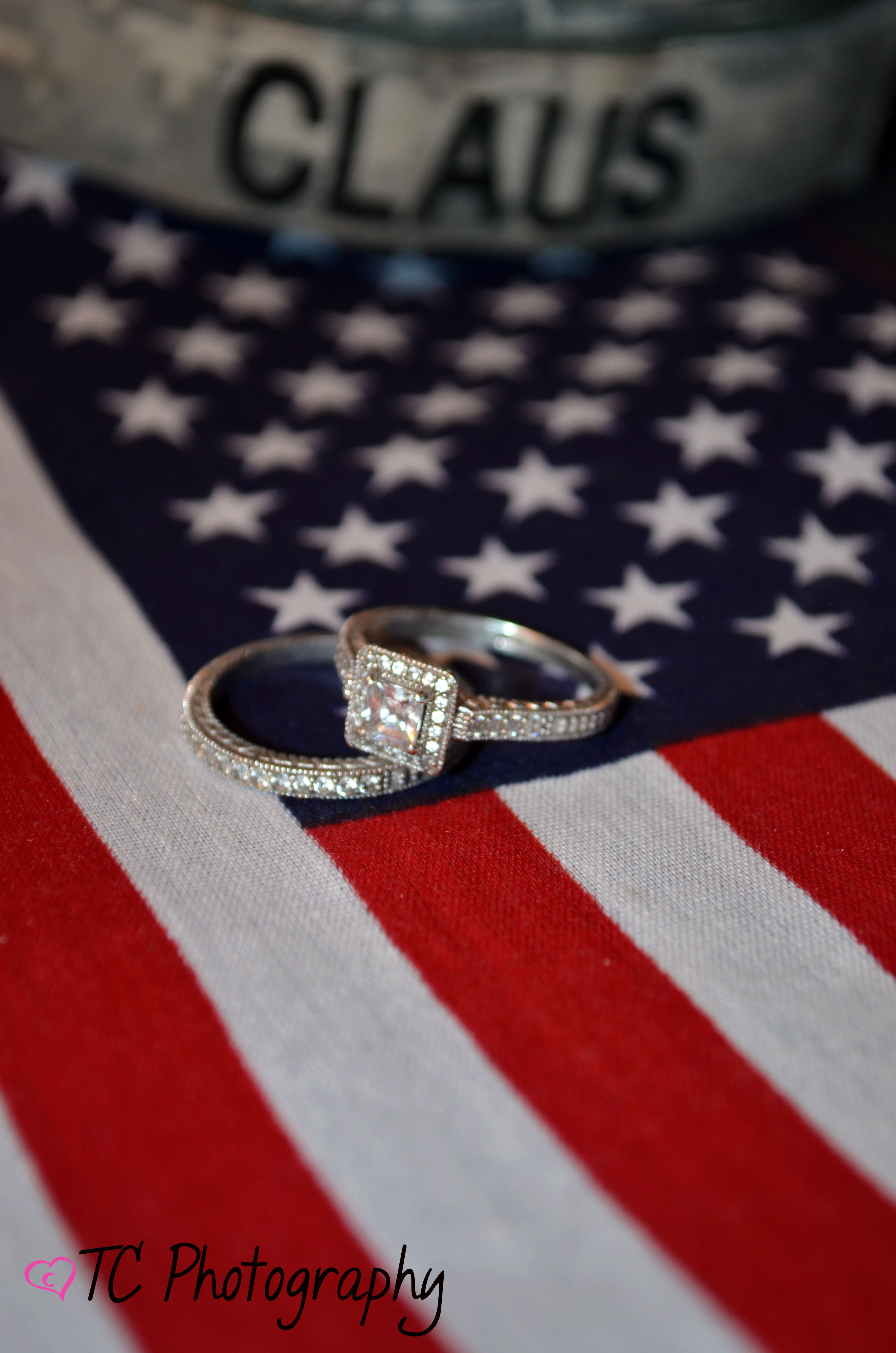 usmc wedding band Of July Wedding American Flag Photography