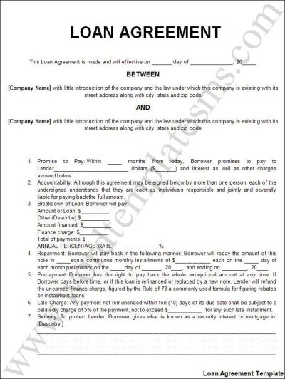 Printable Sample Personal Loan Agreement Form | Laywers Template Forms Online | Pinterest ...