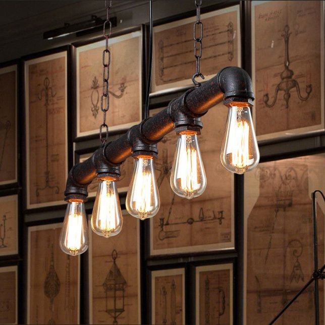 water pipe vintage pendant lights for dining room bar rust red color home decoration american industrial lighting