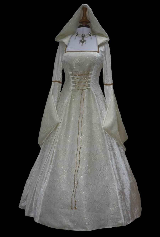 medieval wedding dress Cream Medieval Renaissance Hooded Wedding Dress Pagan Dawns Medieval Dresses