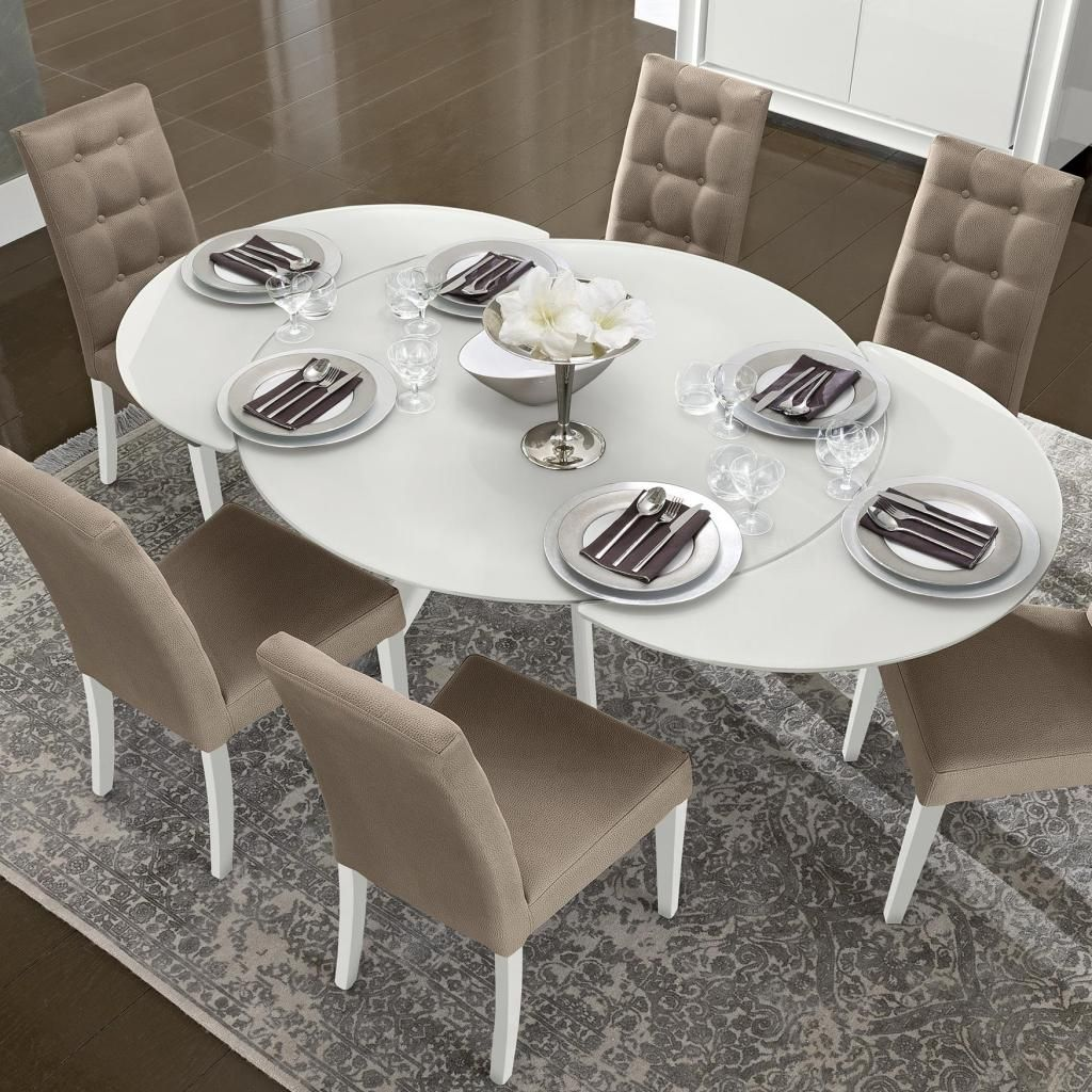small white kitchen table Bianca White High Gloss Glass Round Extending Dining Table 1 2 1 9m CAM DAMA ROUND