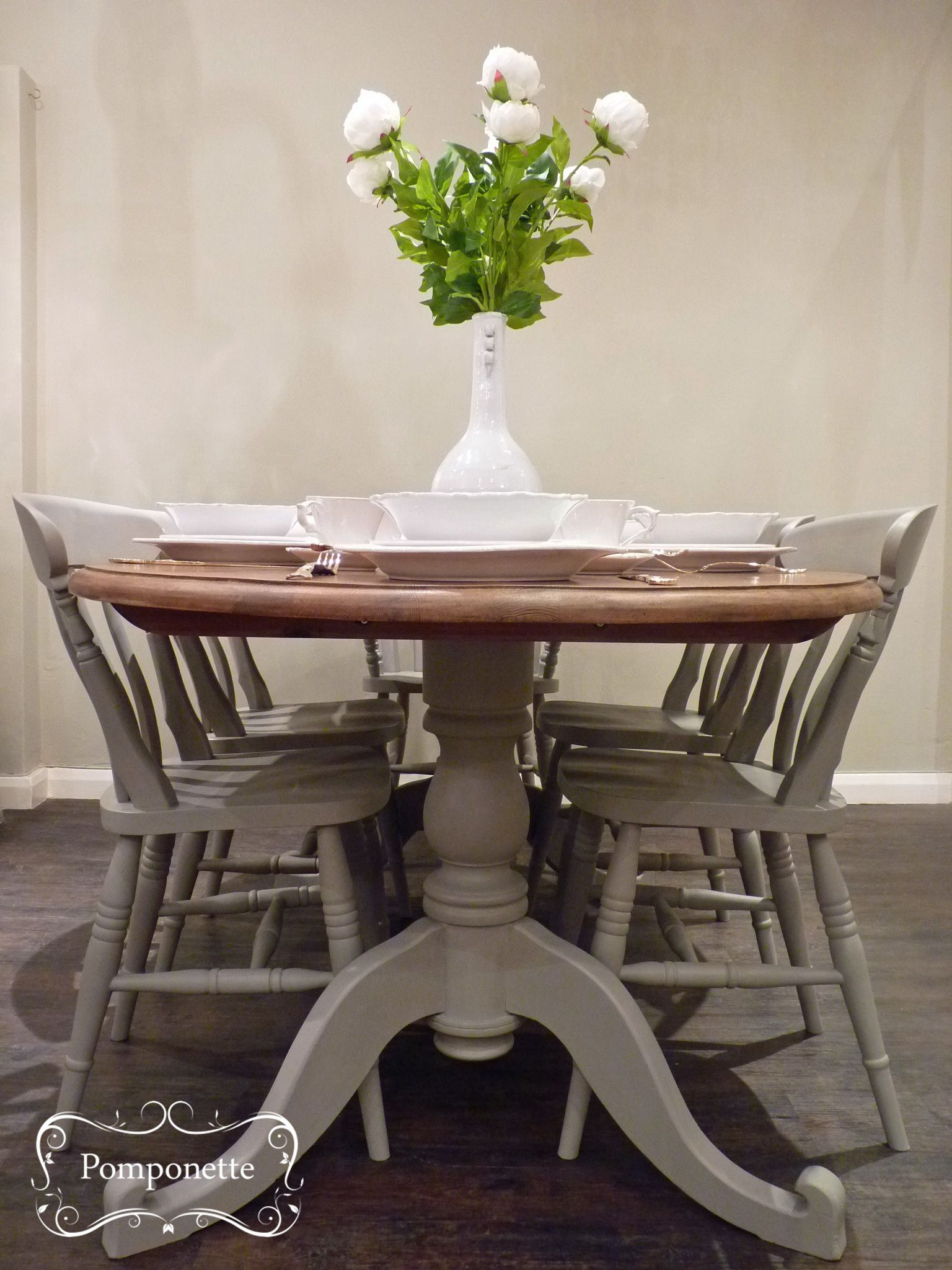 oval kitchen table Oval Dining Table and Six Chairs Pedestal detail anniesloanhome custom mix to create