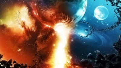 Galaxies Colide Abstract Cg Cool Destruction Digital Art Fire Flames Planets Sci Fi Space ...