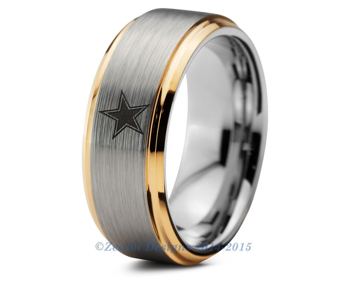 captain america wedding band Dallas Cowboys Tungsten Wedding Band Ring Mens Womens Beveled Yellow Gold NFL Sports Fan Texas Anniversary
