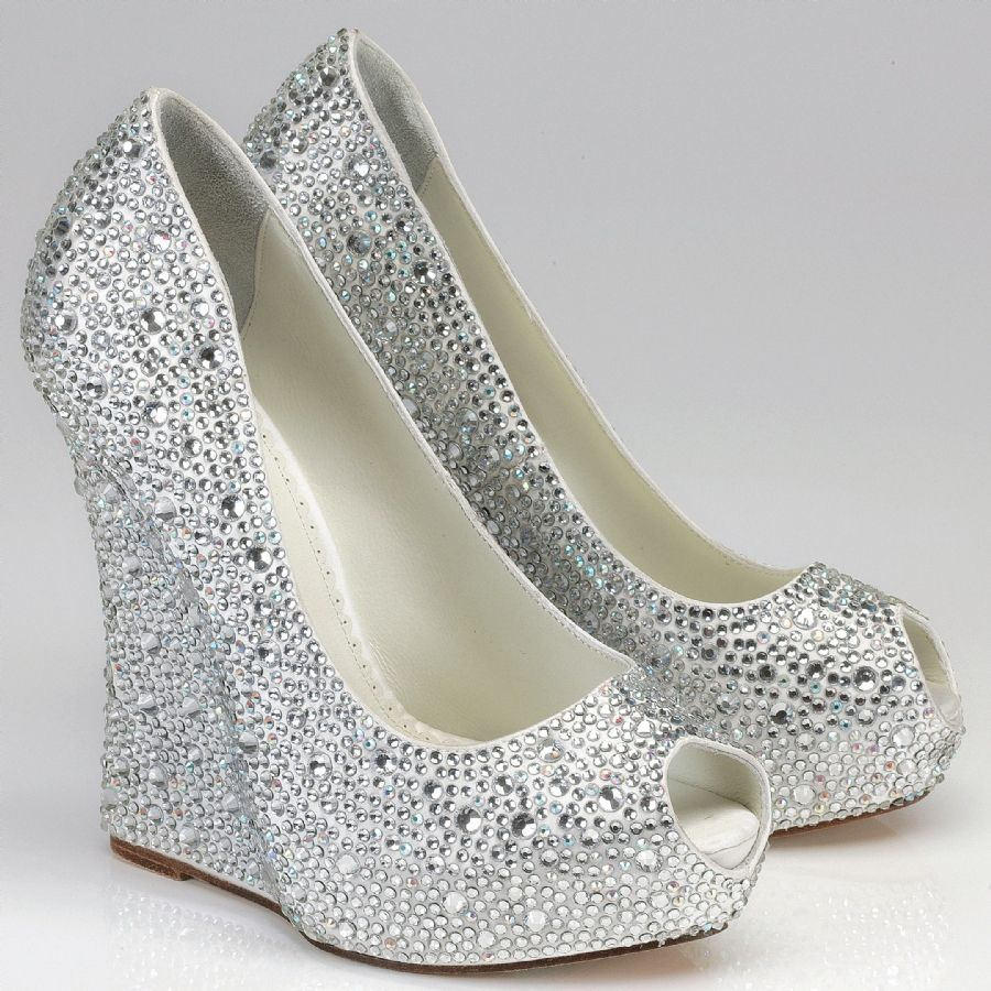 silver heels for wedding Silver Rhinestone Wedge Shoes Above silver wedge bridesmaid shoes with open toe