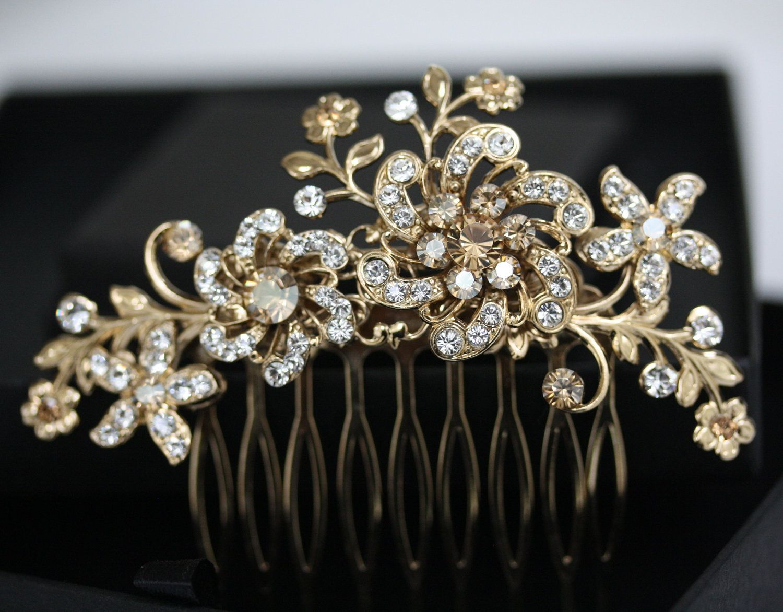 wedding hair combs Bridal Headpiece Gold Wedding Hair Accessories Golden Shadow Crystal Hair Comb Flower Hair Piece SABINE