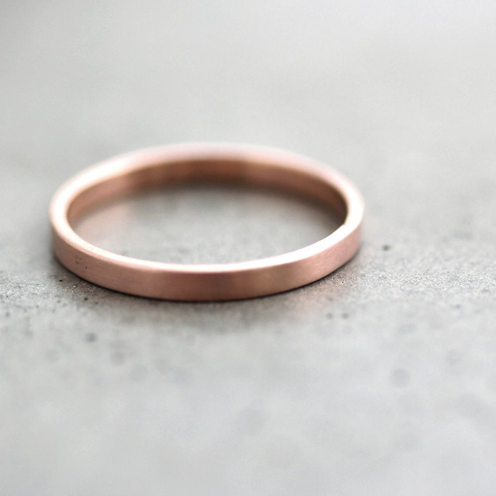 rose gold wedding rings Rose Gold Wedding Band Stackable Ring 2mm Slim Flat Recycled 14k Rose Gold Ring Brushed Pink Gold Wedding Ring or Stacking Ring