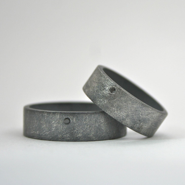 alternative wedding bands Black Diamond Ring Set Wedding Bands Oxidized Finish Wide Sterling Silver Rings