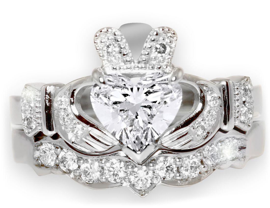 claddagh engagement ring claddagh wedding bands 1 Carat Diamond Claddagh Engagement Ring