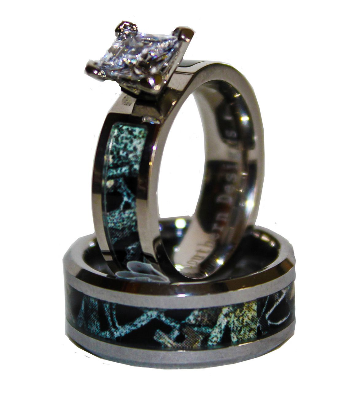 black wedding ring sets Black Camo on Silver Band Couples Ring Set With Stone
