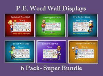 PE Word Wall Display Boards- 7 Pack, Team Sport Super Bundle | Word wall displays, Physical ...