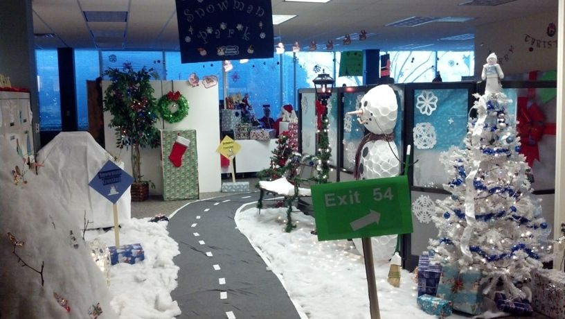 office banded together to create snowman park decorations for christmas
