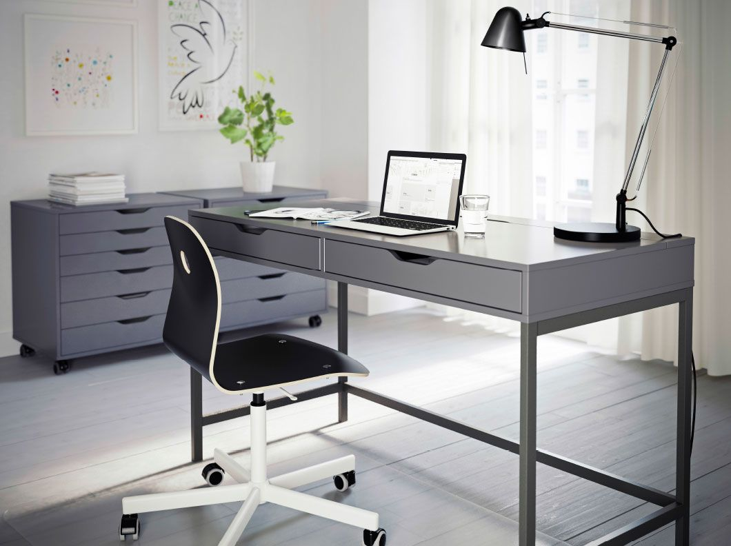 a grey home office with alex desk and drawer units in vgberg chair for ikea