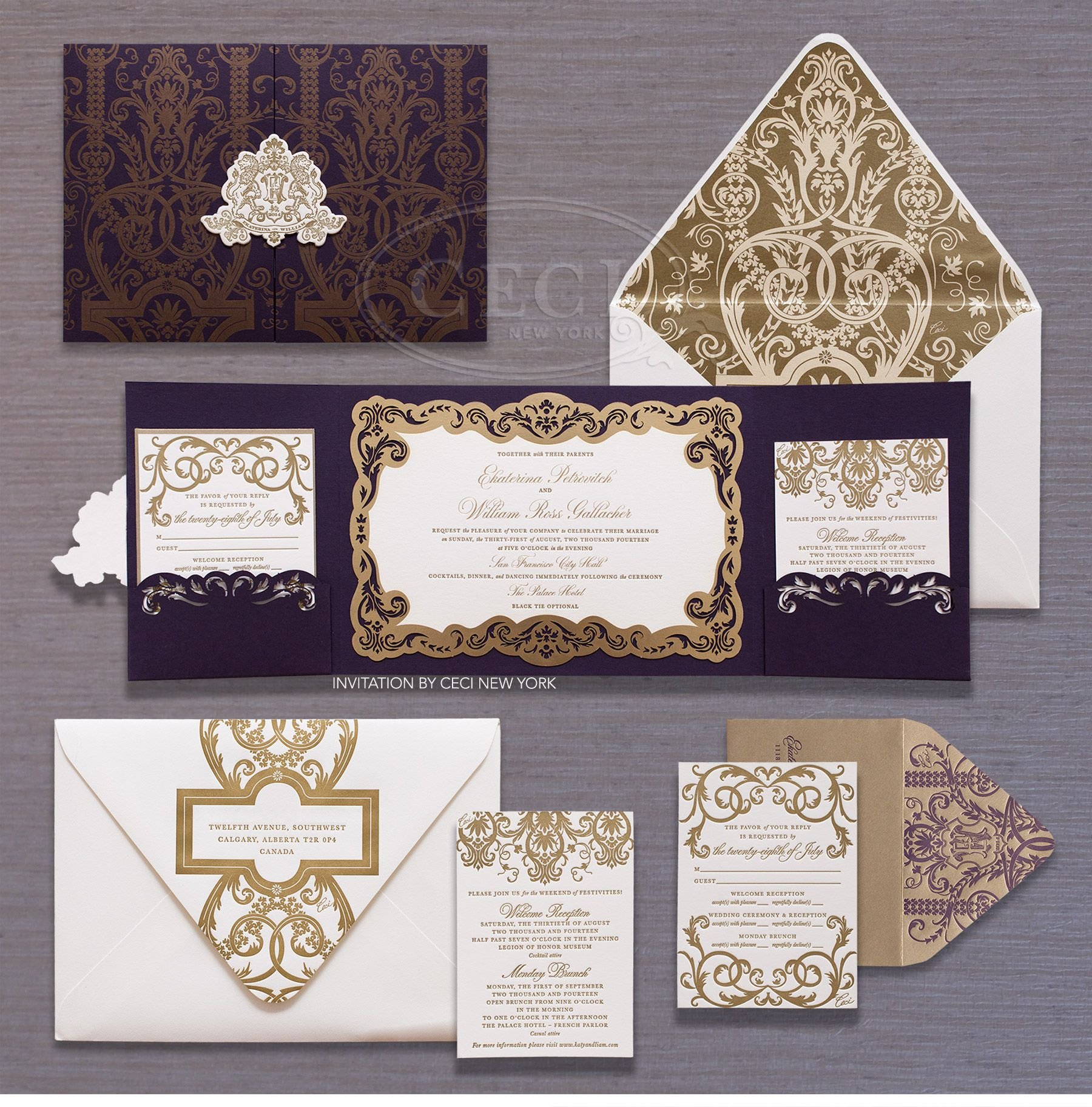 purple and gold wedding Ornate purple and gold wedding invitations by Ceci New York for Ekaterina Liam s old