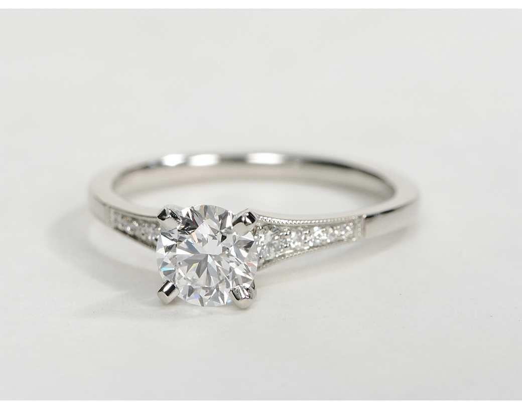 wedding mudding wedding rings 0 82 Carat Diamond Graduated Milgrain Diamond Engagement Ring Recently Purchased Blue Nile