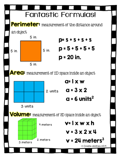 FREE!! Perimeter, area, and volume printable for math journals! Comes in black and white too! # ...