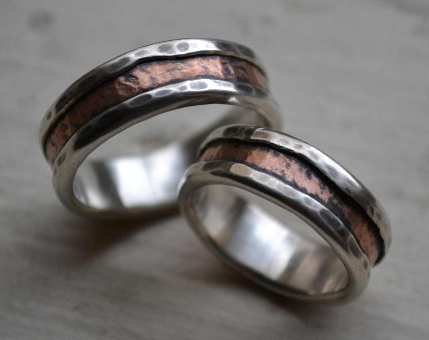 silver wedding ring rustic silver and copper wedding ring set handmade fine silver and copper wedding bands