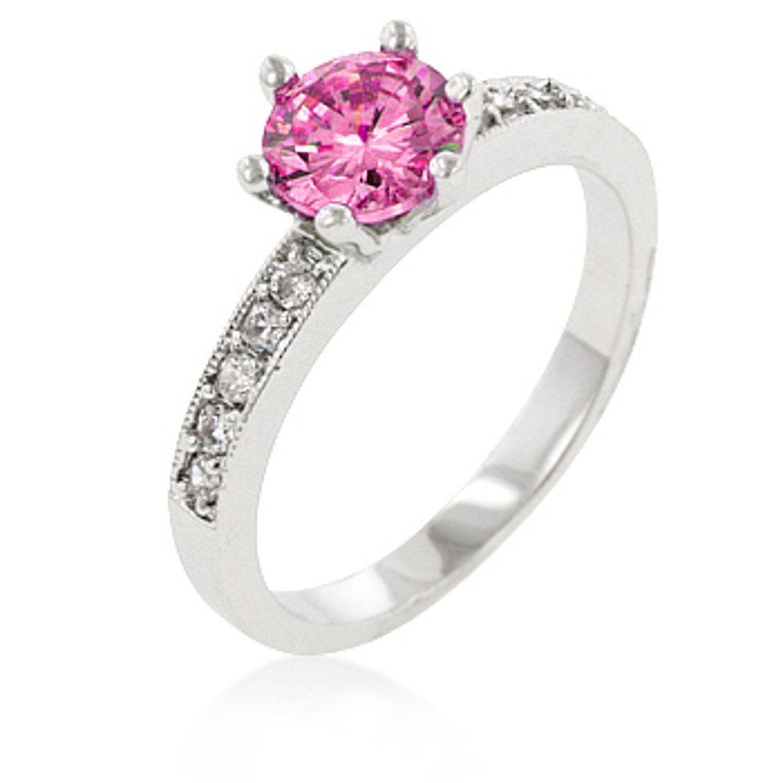 amazon wedding rings Amazon com Alexander James Street Silver tone Light Pink Cubic Zirconia Pink Engagement RingsSimple