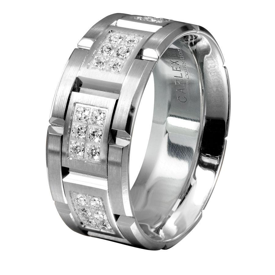 mens black wedding rings men s wedding bands Men s White Gold Diamond Wedding Band