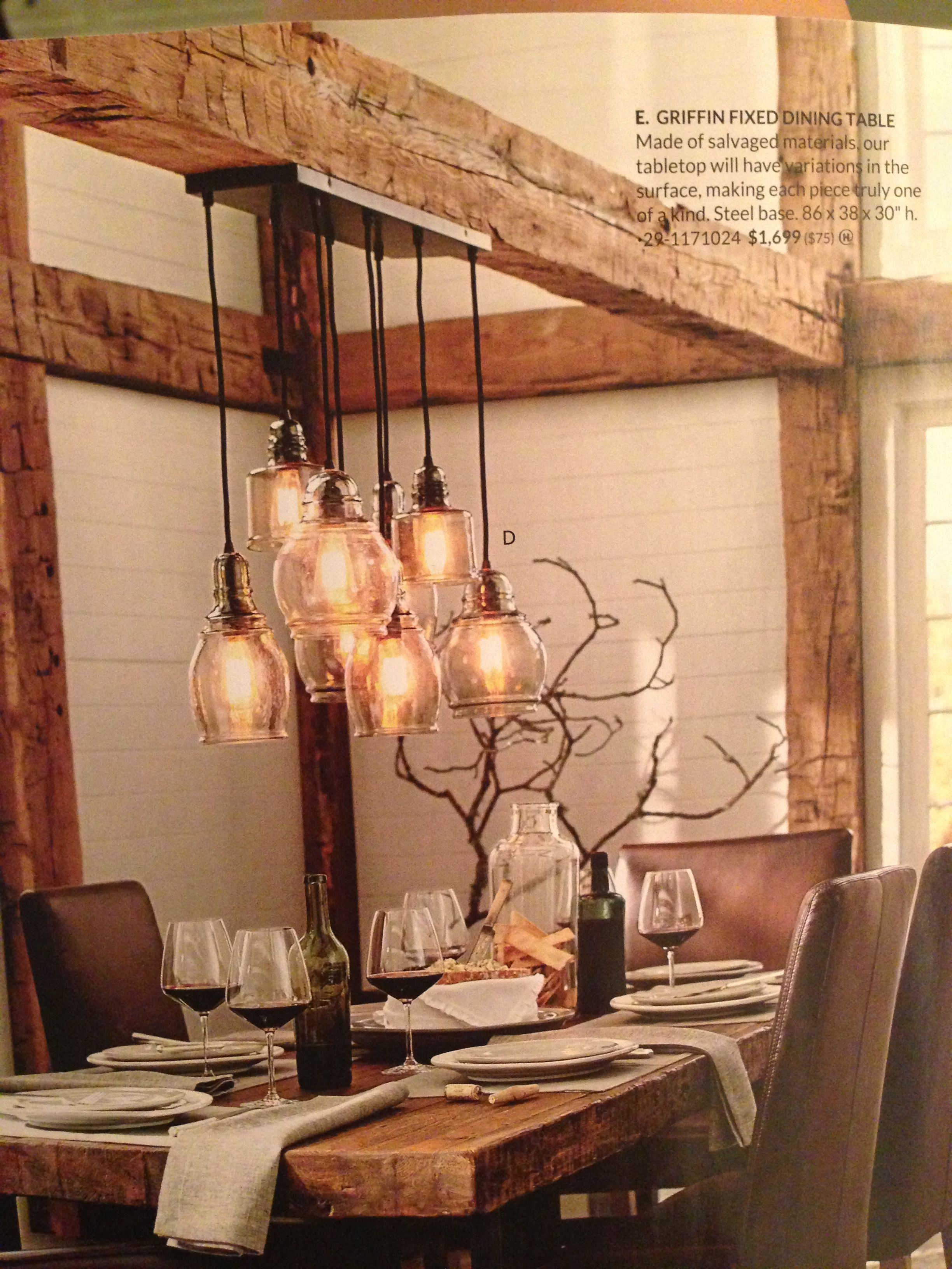 kitchen lights over table Love the rustic table and beamwork Kitchen Remodel Light Fixture over Table