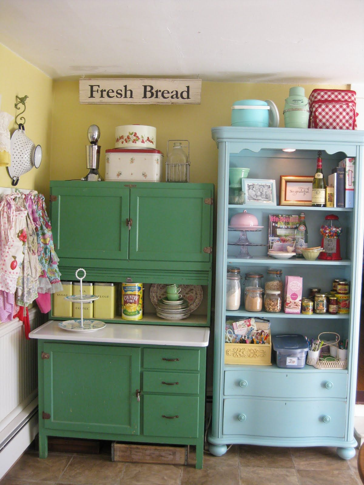 vintage kitchen cabinets Scenic Green And Blue Vintage Kitchen Cabinet Storage Also Open Racks As Inspiring Vintage Kitchen Furnishings
