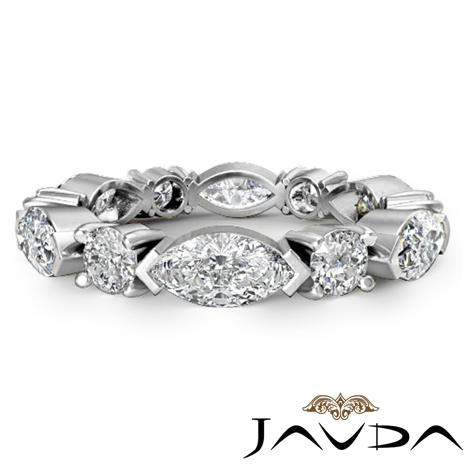 wedding rings ebay Women Classic Eternity Wedding Band Marquise Round Diamond Ring Platinum 1 62ct eBay