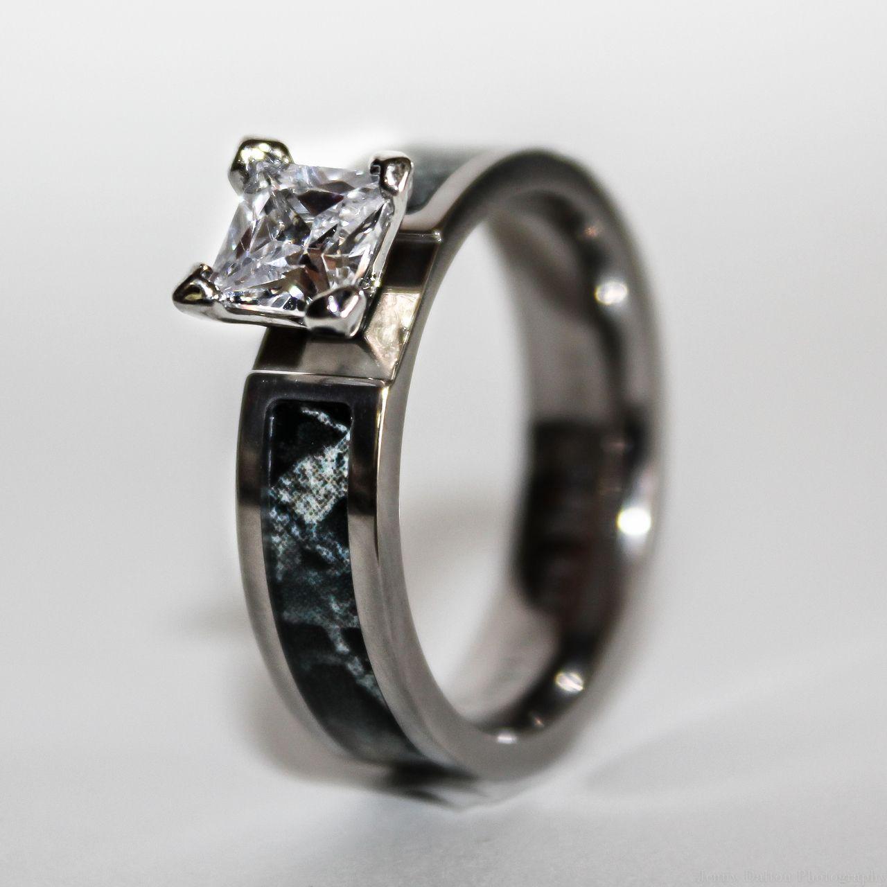 pink camo wedding rings Black Camo Wedding Engagement Ring Titanium with CZ Stone