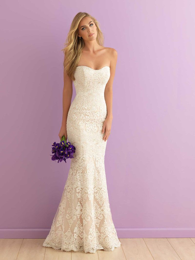 strapless lace wedding dress Mermaid Strapless Sweetheart Floor Length Subtle Lace Wedding Dress