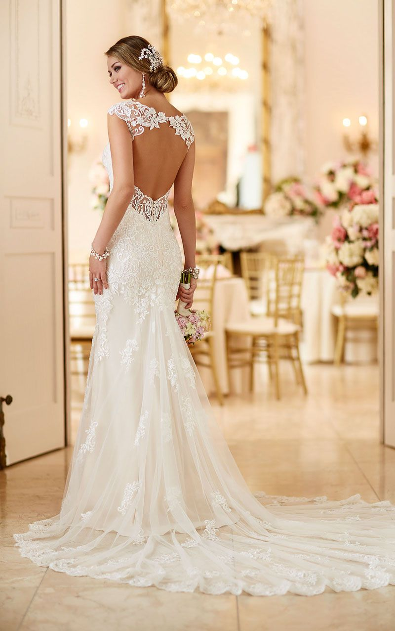 white mermaid wedding dresses Demure yet stylish this sleeveless all over lace mermaid gown is the epitome of classic