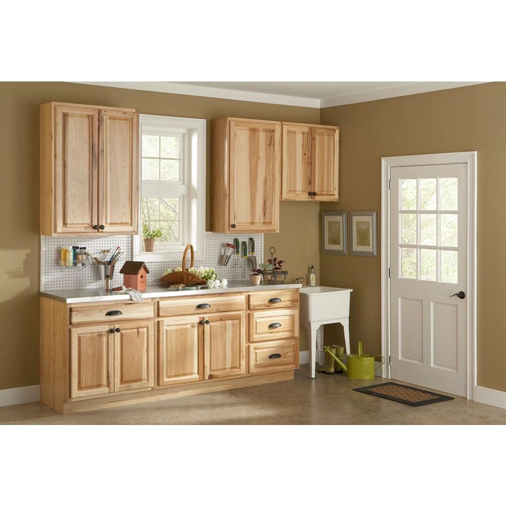 unfinished kitchen wall cabinets Hickory Natural Kitchen Cabinet Crown Moulding
